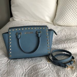 Michael Kors leather Selma blue / jean bag purse